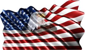 American Flag Eagle Waving Decal / Sticker 11