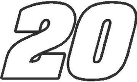 20 Race Number Aardvark Font Decal / Sticker