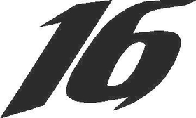16 Race Number Solid Decal / Sticker