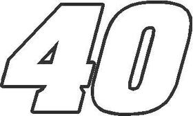 40 Race Number Aardvark Font Decal / Sticker