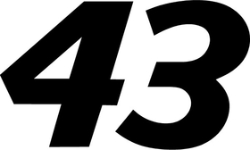43 Race Number Decal / Sticker b