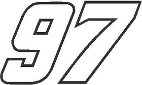 97 Race Number OUTLINE Nascar Decal / Sticker