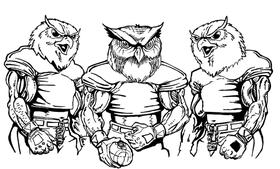 Football Owls Mascot Decal / Sticker 7