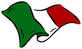Italian Flag Waving Decal / Sticker 04