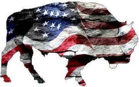 American Flag Bison Decal / Sticker
