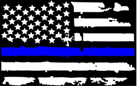 Weathered Thin Blue Line American Flag Decal / Sticker 97