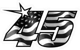 Number 45 Black and White American Flag Decal / Sticker b