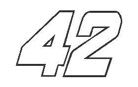 42 Race Number Decal / Sticker OUTLINE