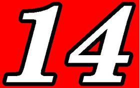 14 Race Number Motor Font 2 Color Decal / Sticker