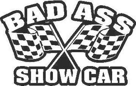 Bad Ass Show Car decal / sticker CHECKERED