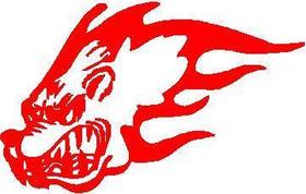 Flaming Dog Head Decal / Sticker