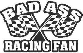 Bad Ass Racing Fan decal / sticker CHECKERED