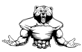Football Bear Mascot Decal / Sticker