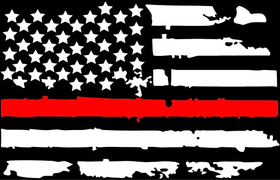 Thin Red Line American Flag Decal / Sticker 100