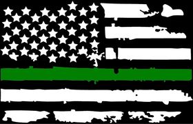 Thin Green Line American Flag Decal / Sticker 101