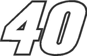 40B Race Number Outline Decal / Sticker