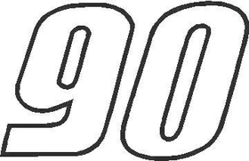 90 Race Number Outline Decal / Sticker