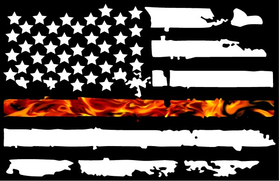 Thin Red Line True Fire American Flag Decal / Sticker 106