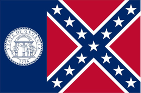 Georgia State Flag 1956-2001 Decal / Sticker a