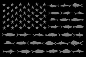 American Flag Fish Decal / Sticker 110 Black and Gray