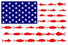 American Flag Fish Decal / Sticker 111