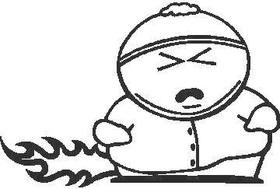 Flaming Cartman South Park Decal / Sticker