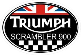 Triumph Scrambler 900 Oval with British Flag Decal / Sticker 73