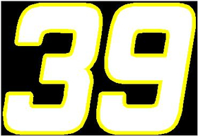 39 Race Number 2 Color Hemihead Font Decal / Sticker