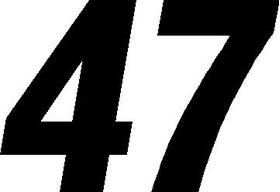47 Race Number Switzerland Font Decal / Sticker
