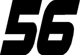 56 Race Number Hemihead Font Decal / Sticker