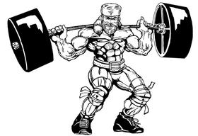 Weightlifting Frontiersman Mascot Decal / Sticker 6
