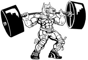 Weightlifting Razorbacks Mascots Decal / Sticker 3