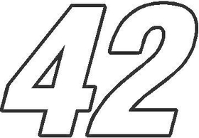 42 Race Number Switzerland Font Decal / Sticker