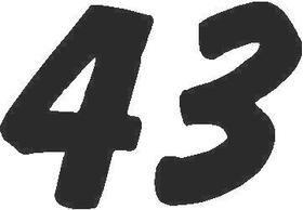43 Race Number Dawncastle Font Decal / Sticker