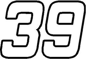 39 Race Number Hemihead Font Decal / Sticker