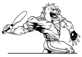 Baseball Bulldog Mascot Decal / Sticker 08