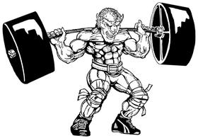 Weightlifting Buffalo Mascot Decal / Sticker wt7
