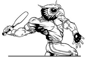 Baseball Owls Mascot Decal / Sticker 4