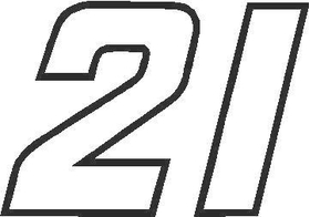 21 Race Number Outline Decal / Sticker