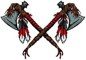 Crossed Tomahawk Mascot Decal / Sticker 02