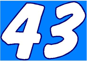43 Race Number 2 Color Dawncastle Font Decal / Sticker