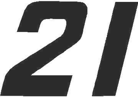 21 Race Number Solid Decal / Sticker