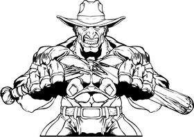 Breaking Baseball Bat Cowboys Mascot Decal / Sticker