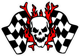 Skull and Checkered Flag Decal / Sticker 02