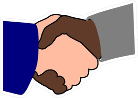 Black Man and White Man Shaking Hands Decal / Sticker 05