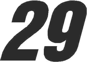 29 Race Number Switzerland Inserant Font Decal / Sticker
