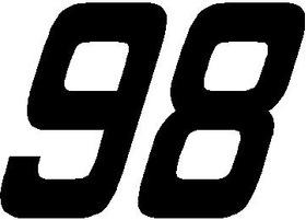 98 Race Number SOLID Nascar Decal / Sticker