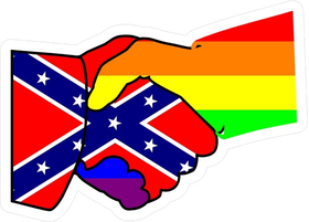 z Confederate Flag and LGBT Flag Shaking Hands Decal / Sticker 07