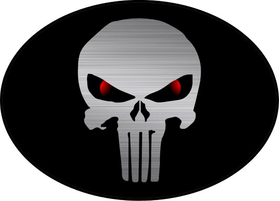 Brushed Red Eyed Punisher Oval Decal / Sticker 163