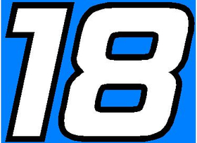 18 Race Number 2 Color Hemihead Font Decal / Sticker